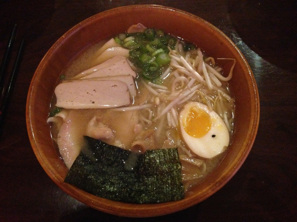 Miso Ramen- miso chicken broth with fresh ramen noodles topped with flavor infused egg, marinated chicken and bamboo shoots, nori (seaweed), bean sprouts and green onions.