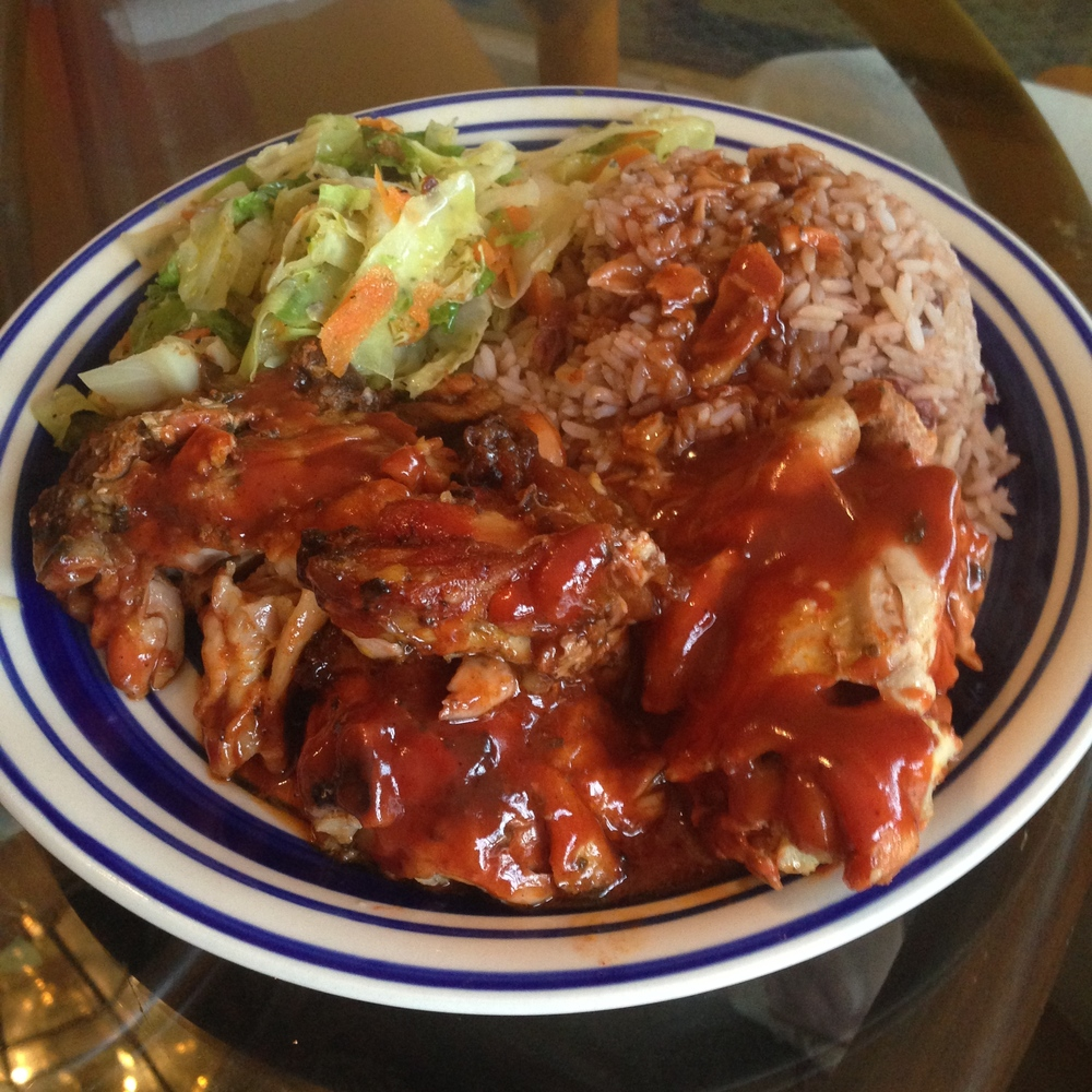 BBQ Chicken with rice and beans and stir fry cabbage