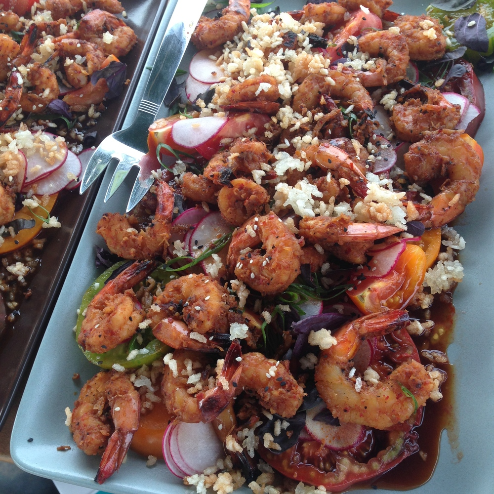 Blue Moon Community Farm tomato salad, Korean BBQ-style Carolina shrimp, crispy rice, Elderberry Hill Farm radish &turnips, opal basil, gochujang vinaigrette