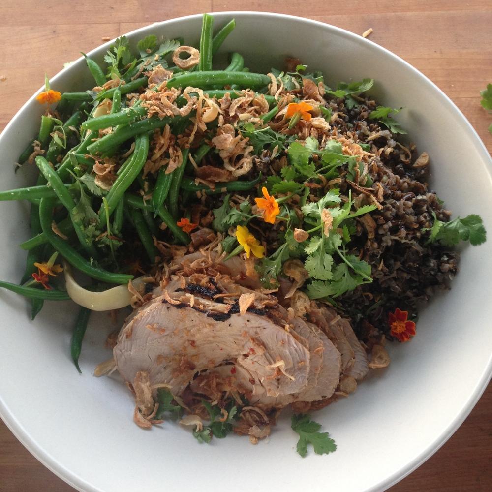 Vietnamese-style Blue Moon Community Farm turkey, spicy dragon tongue bean salad, wild rice, cilantro, crispy shallots