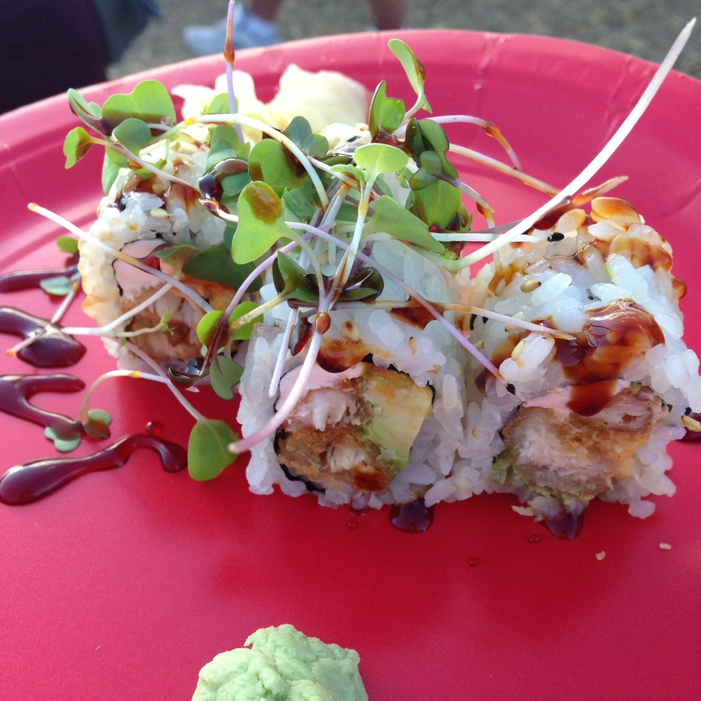 Red Sushi - white fish tempura, avocado, eel sauce, micro greens