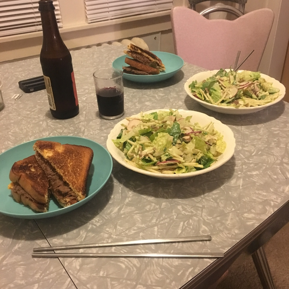 Yes, we like to eat with chopstick whenever we can. This meal was grilled cheddar and beef sandwiches and a chop salad that is dressed with homemade green onion aioli.