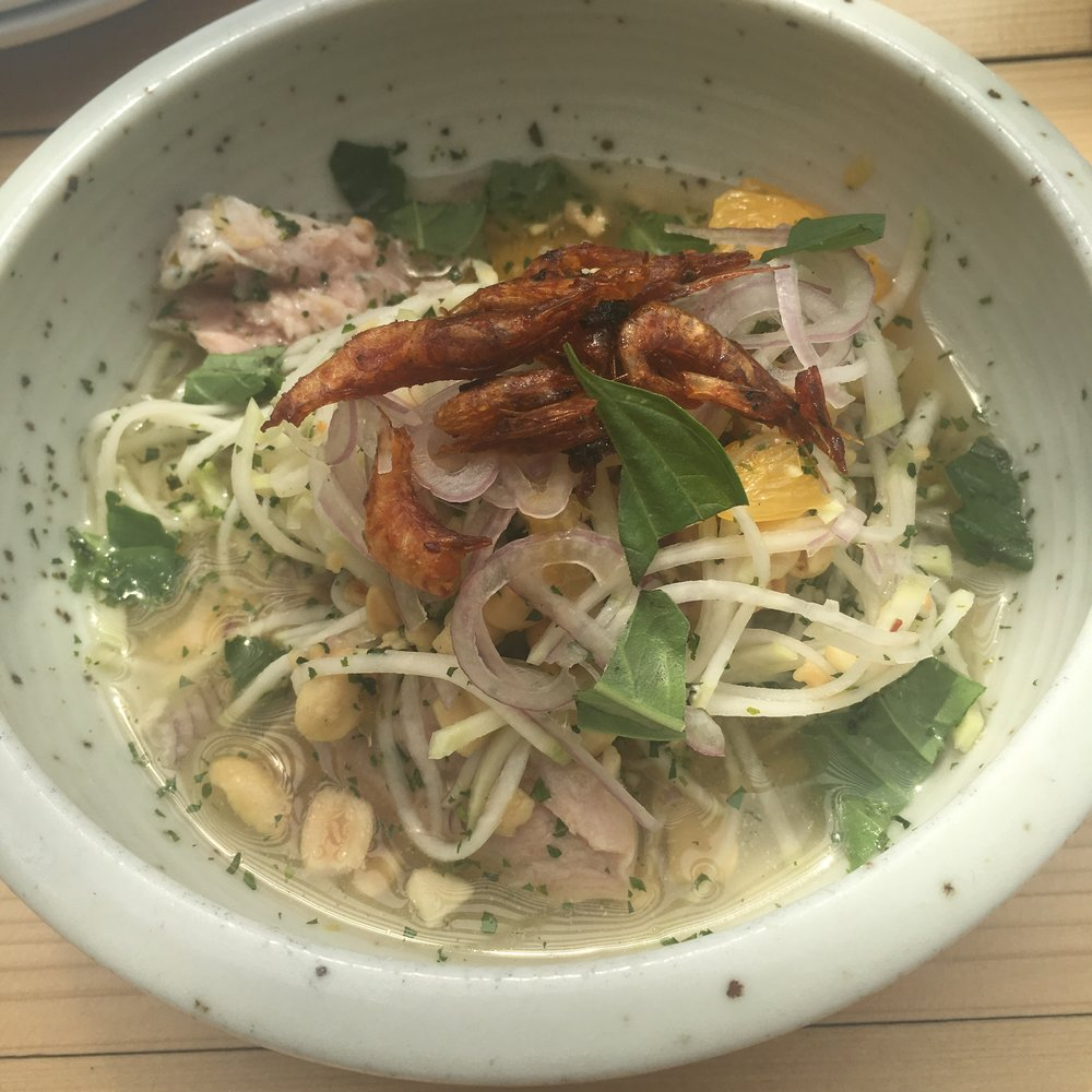 Candied Shimp and Kohirabi Salad - peanut, chicken, orange, lime, fish sauce, fresh herbs
