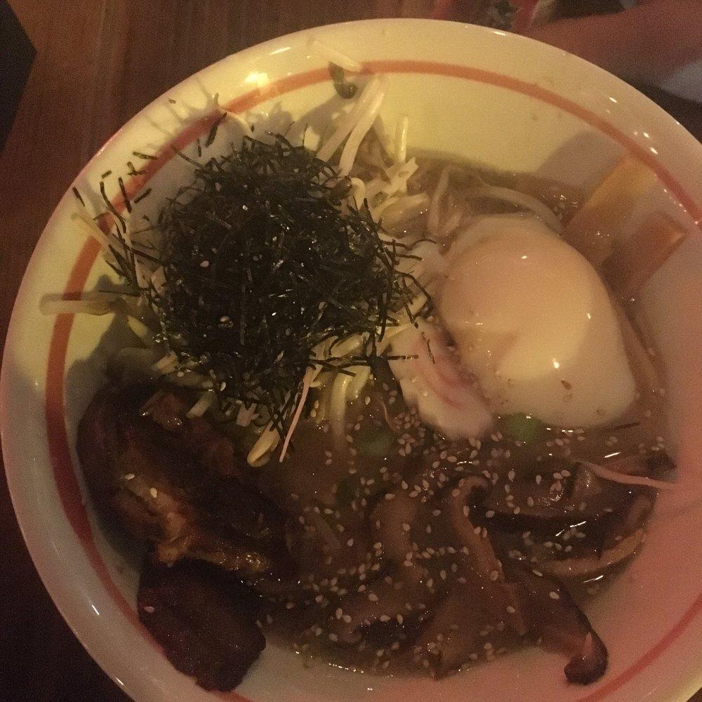 Shoyu Ramen -Tonkotsu broth, soy, chashu pork belly, bean sprouts, bamboo, nori, egg, mushroom, naruto