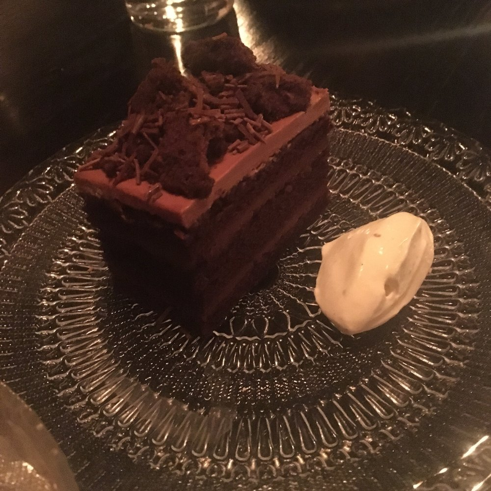 Chocolate Blackout Cake, Salted Cream, Fernet Branco