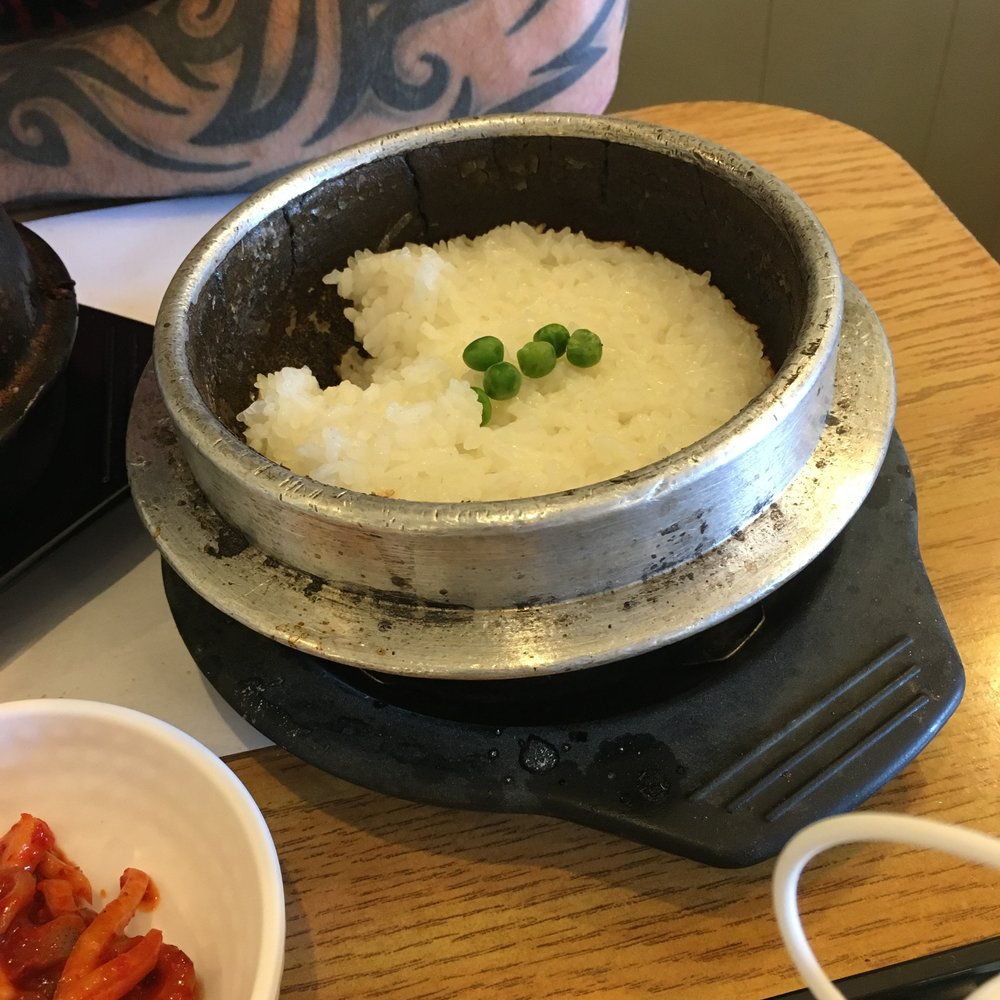 Rice in stone bowl
