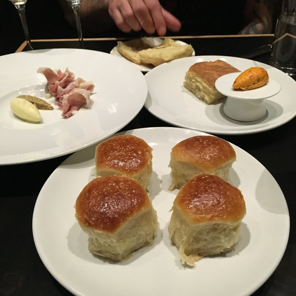 Buttermilk Biscuits with pimento buttter, Parker House Rolls  with Benton's ham, cultured butter and mustard