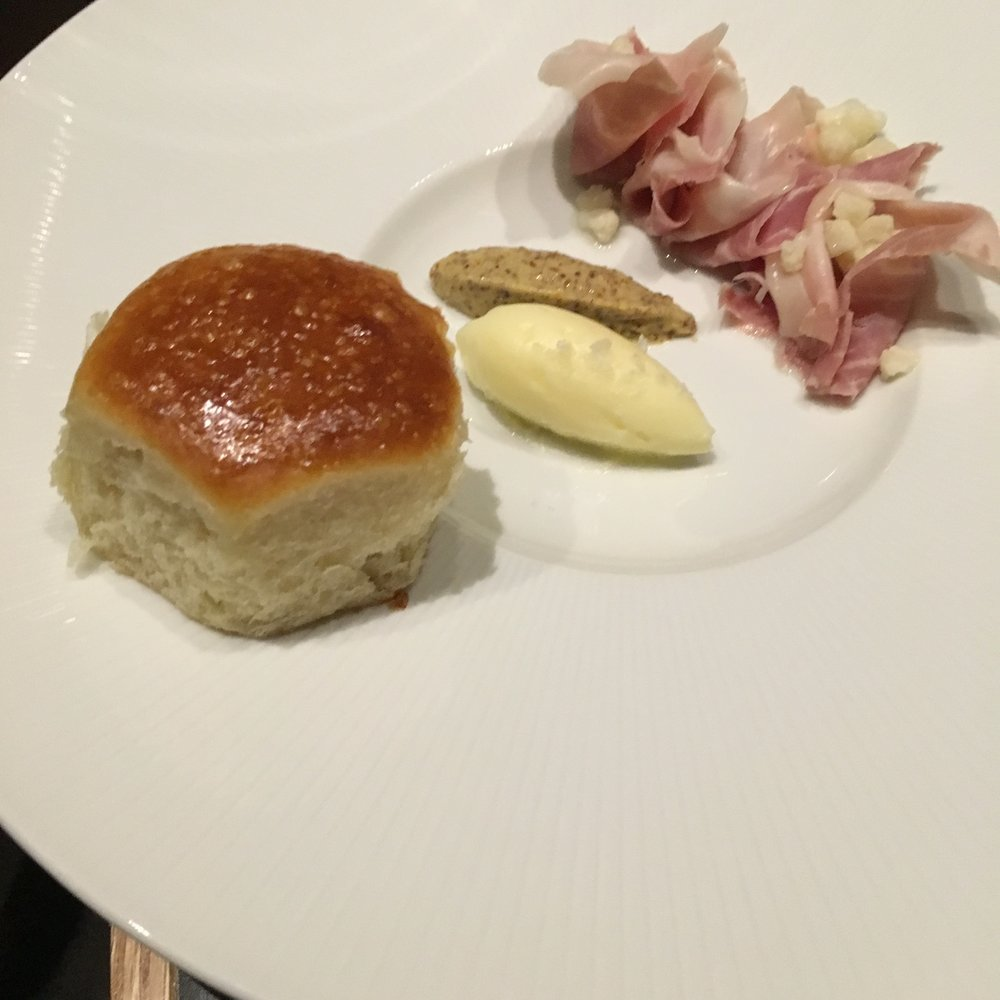 House Parker Rolls with Benton's ham, cultured butter and mustard
