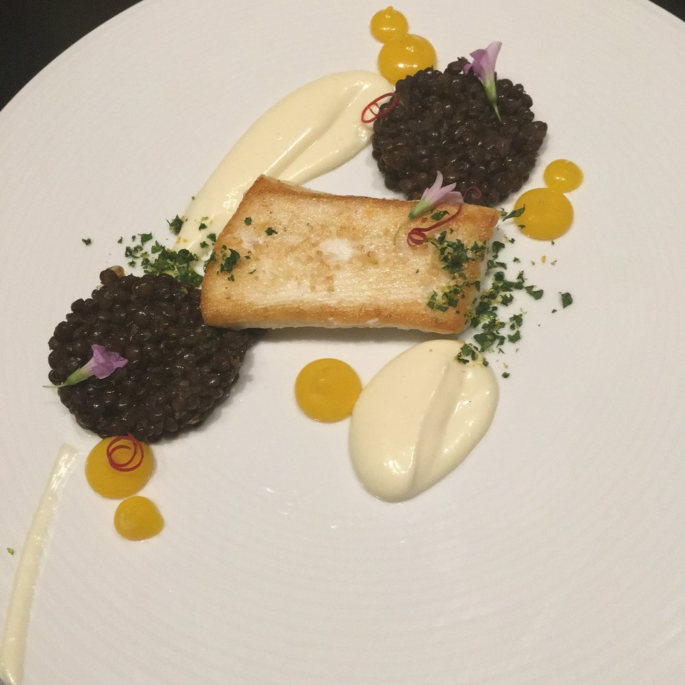 Halibut- parsnip, meyer lemon, vanilla, black lentil, orange