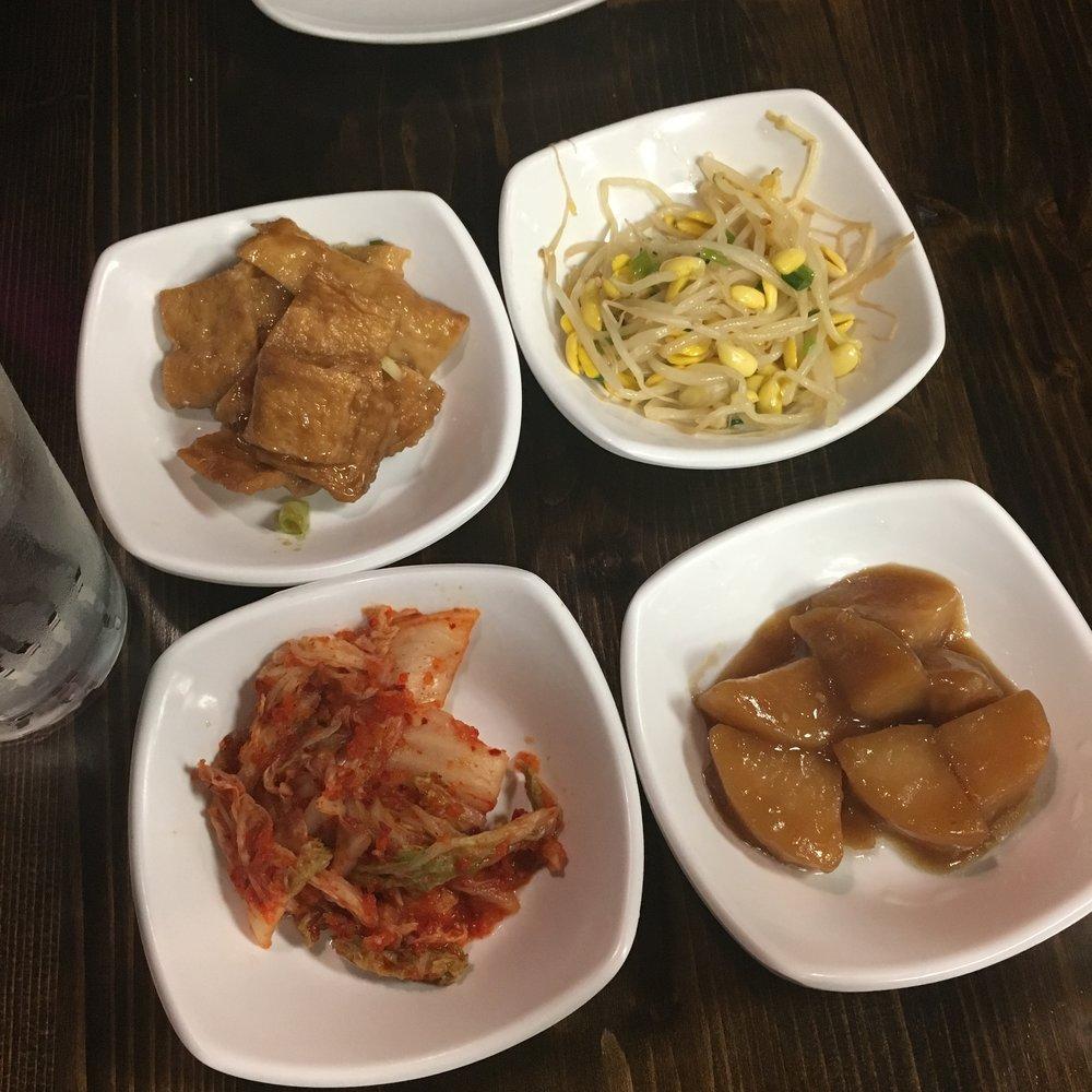 Banchan-kimchi, potato, soybean sprouts and fish cake