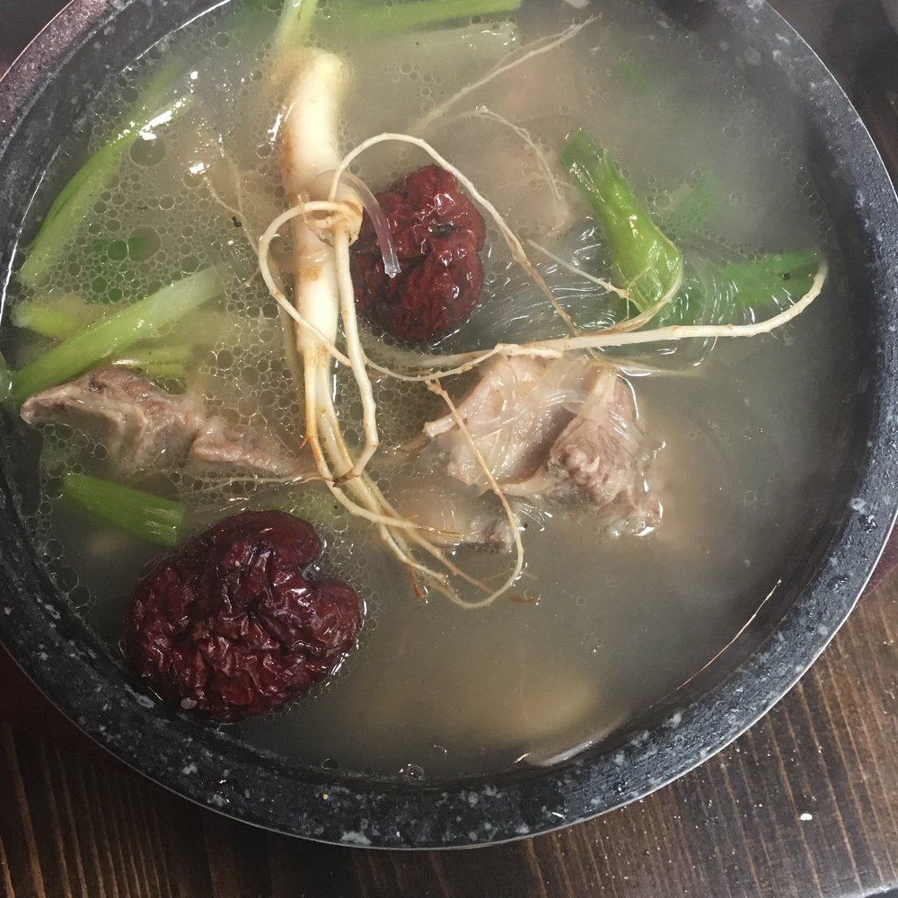 Insam Galbi Tang- beef rib soup with chestnut, ginseng, and noodles