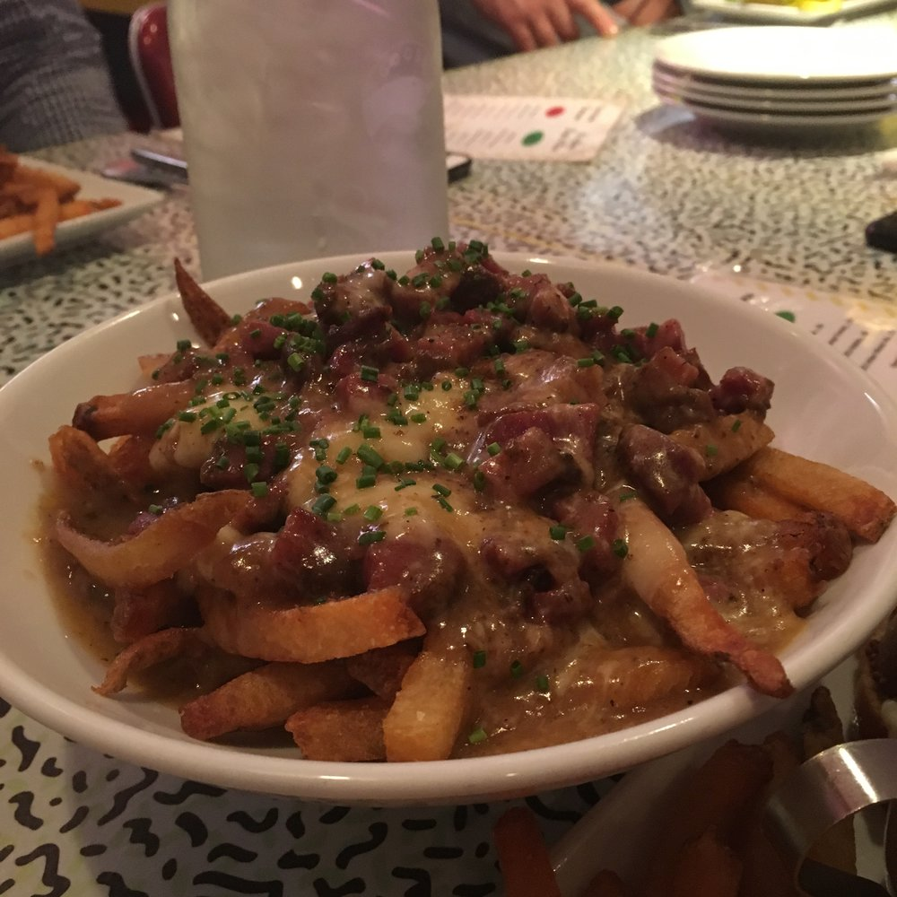 Poutine Engel, mushroom coffee red eye gravy, cheese curds, Tasso ham