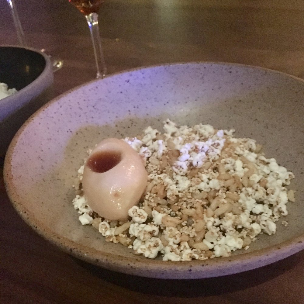 Rye bread porridge with quince sorbet and puff cereals