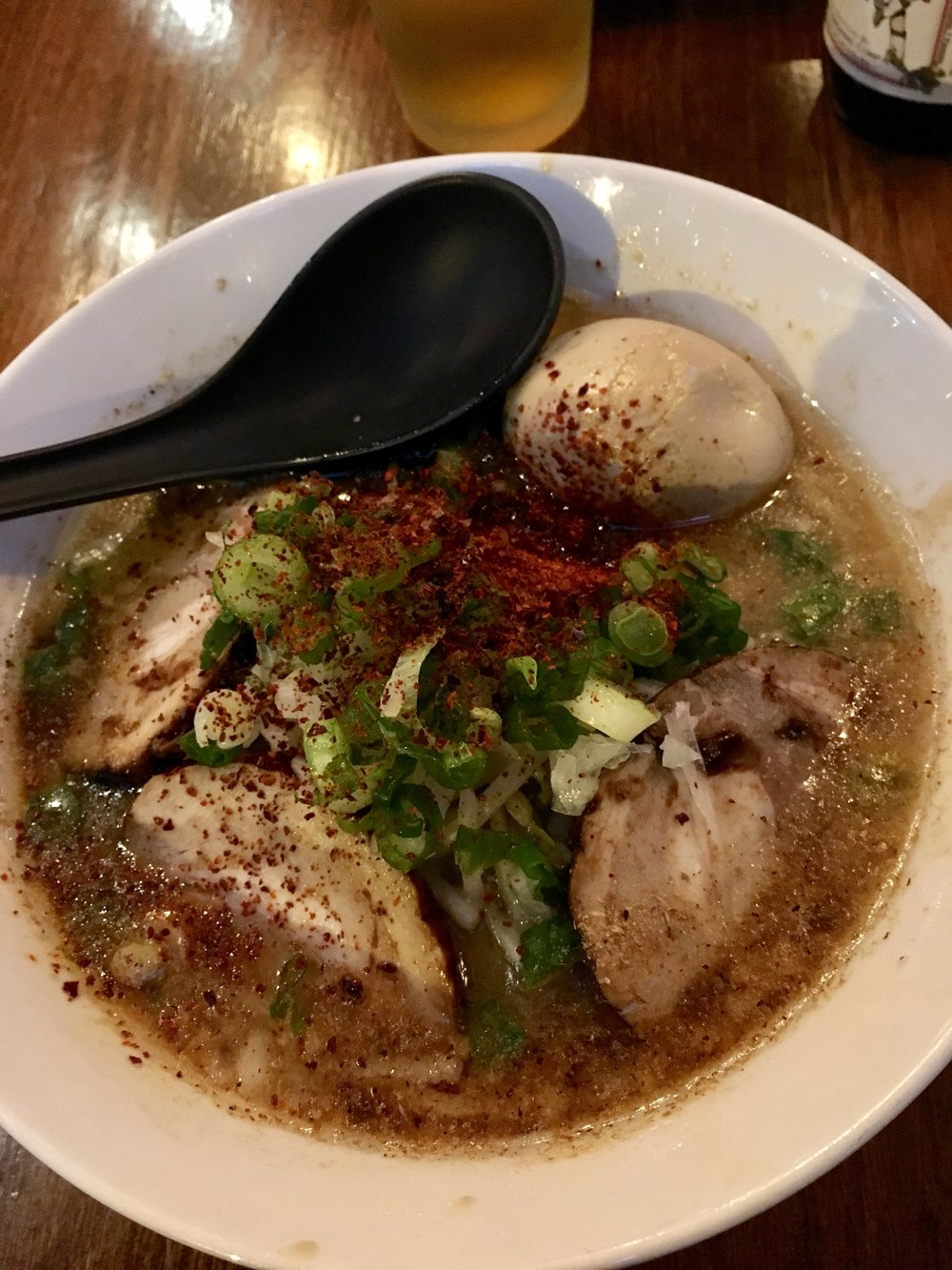 Cha Cha Cha Ramen- pork and fish broth, pork chashu, seasoned egg, bean sprouts, chopped onion, green onion, garlic, chill powder, thick noodle