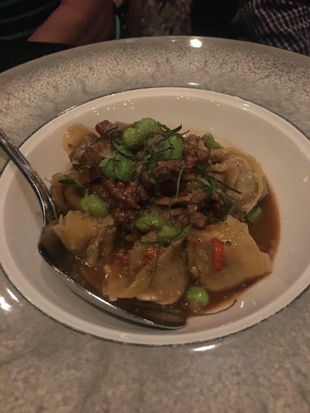 Short rib tortellini, edamame, Parmesan, basil, tripe