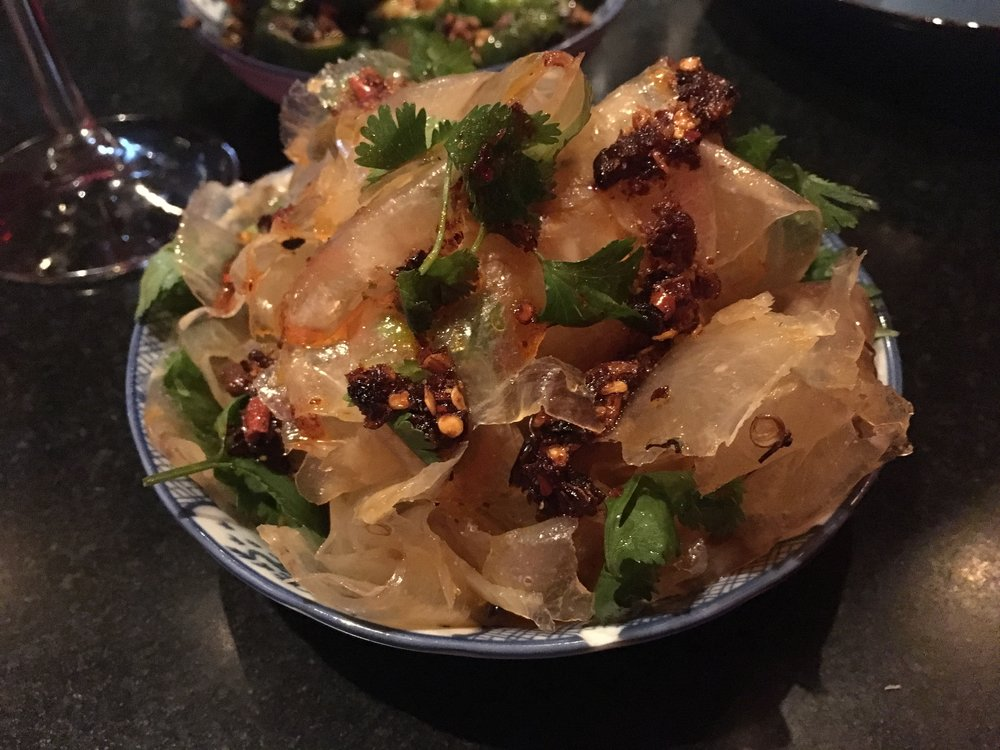 Chilled braised beef tendon, house  chili oil, coriander