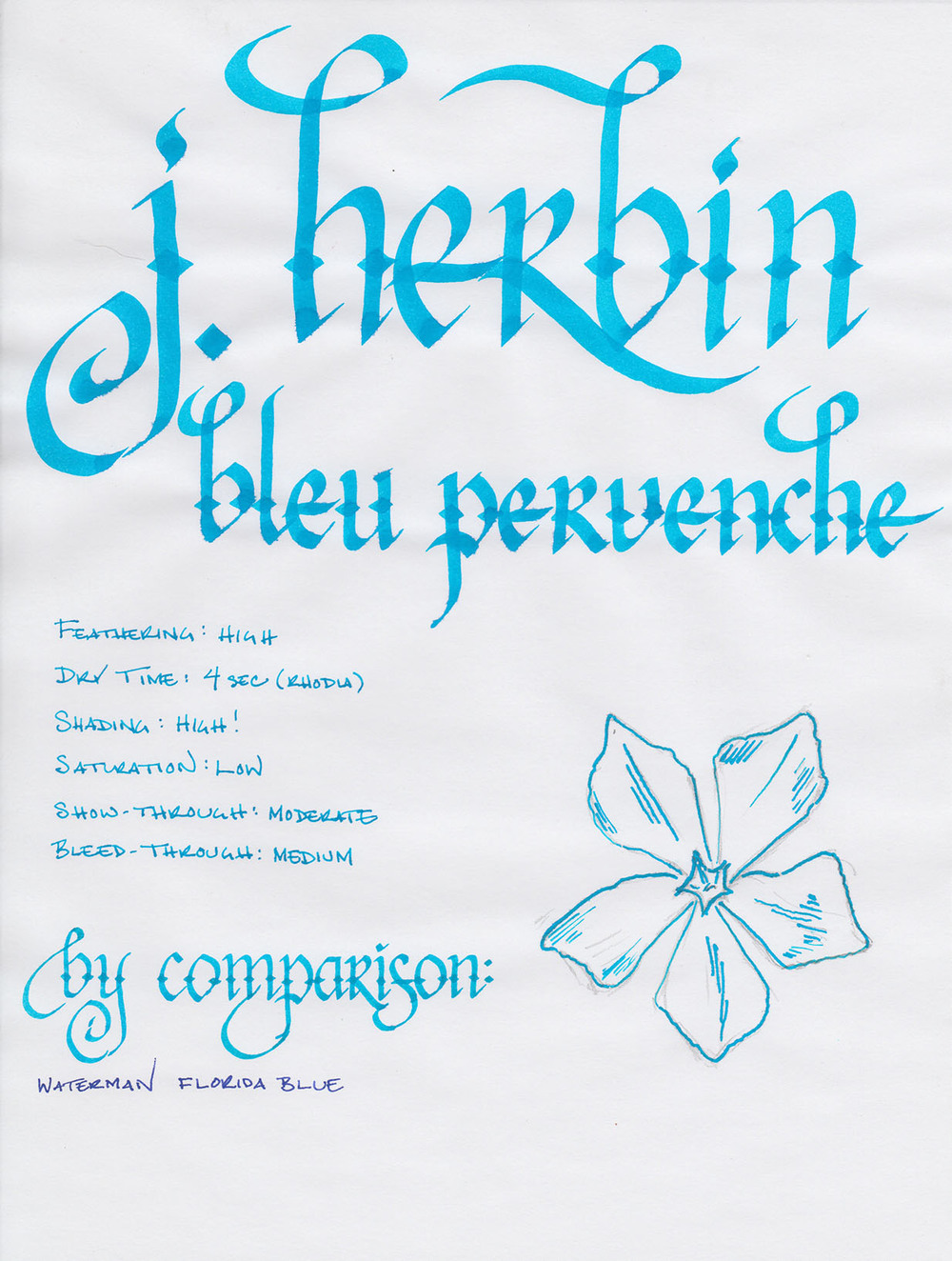 j herbin bleu pervenche writing sample