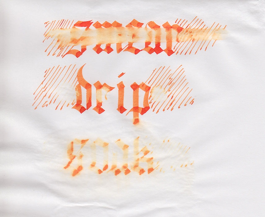 Diamine Blaze Orange water test. Click to embiggen.