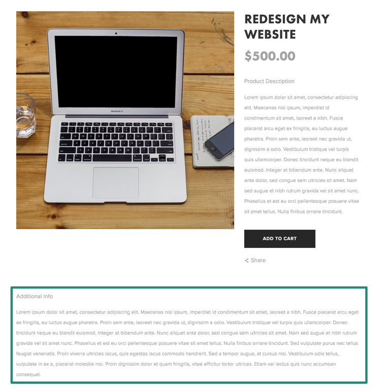 Move product description to the right of the image Marquee – Product Description Template