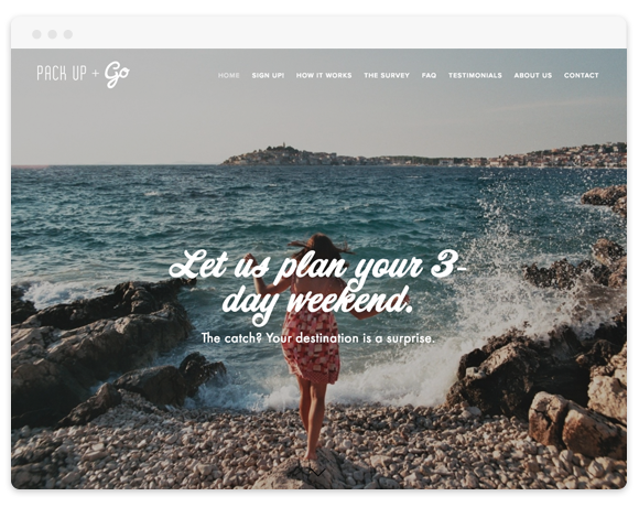 Pack Up + Go  (Travel Startup)