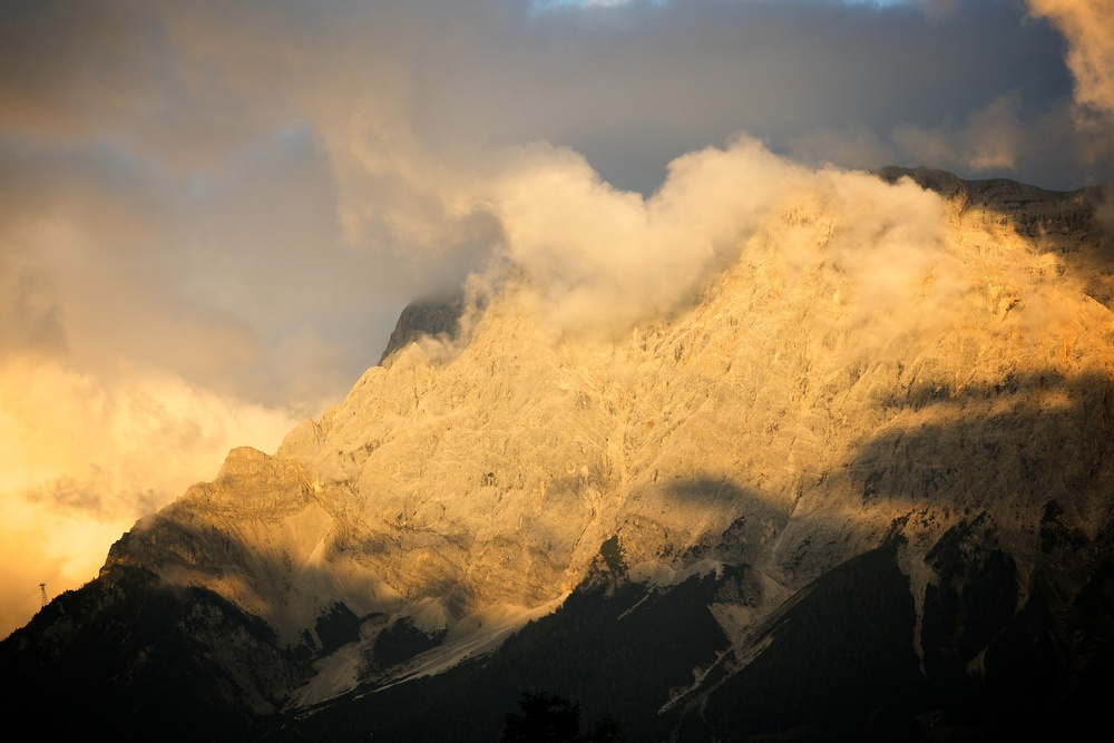 Zugspitze as seen from Austria at Sunset