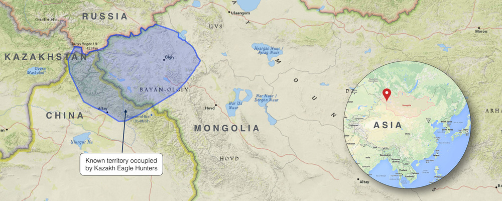 KAZAKH EAGLE HUNTERS' MAP, MONGOLIA