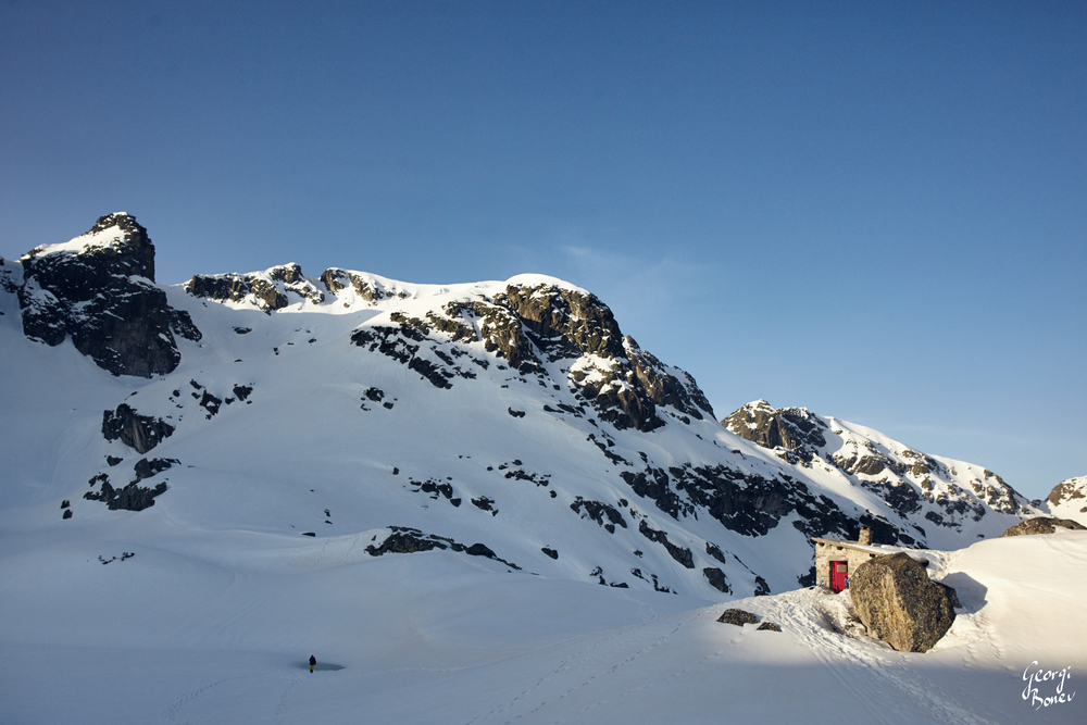 Winter View of Strashno Ezero Shelter in Rila Mountain