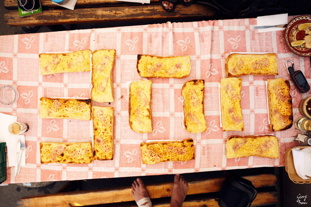Celebrating 300km with a mark made of sandwiches at Republica pass, Bulgaria