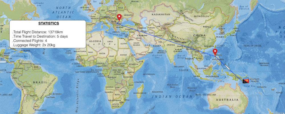 Bucharest -> Sofia -> Istanbul -> Manila -> Port Moresby -> Tari
