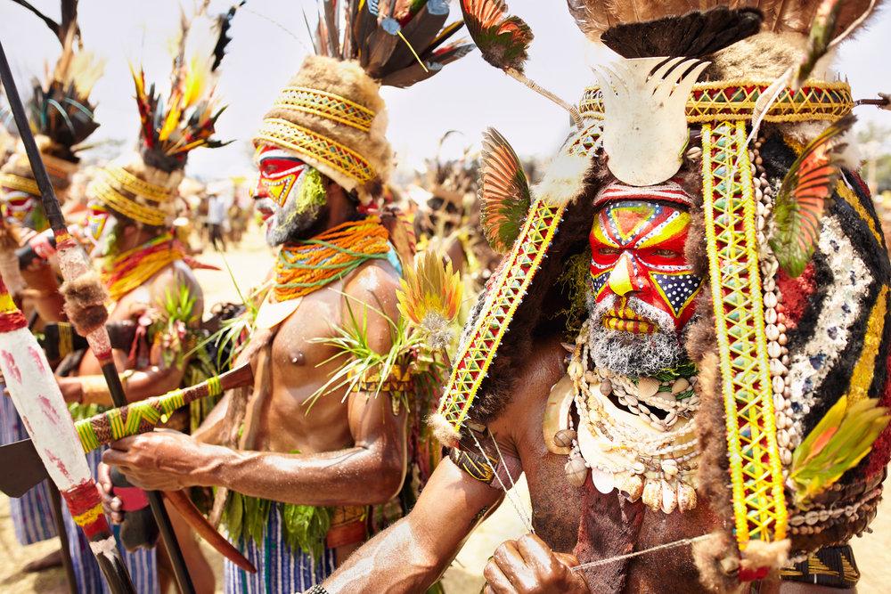 Kuruwari warriors decorated for sing-sing cellebration, Papua New Guinea