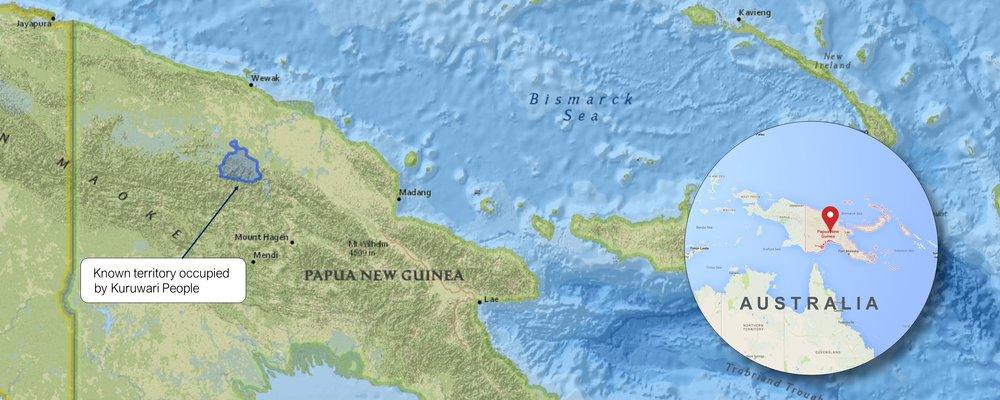 Kuruwari people map, Papua New Guinea