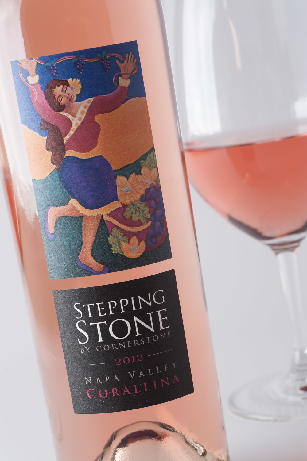 "2012 Stepping Stone by Cornerstone Corallina Napa Valley Syrah Rosé with label ""Wine Dance"" by artist Janet Ekholm"