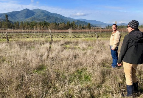 Biodynamic consultant Andrew Beedy and Troon winemaker Steve Hall on the spot selected for our compost program.