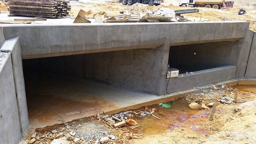 Figure 4. Side view of concrete culvert passing through Interstate 295 near Fayetteville, NC