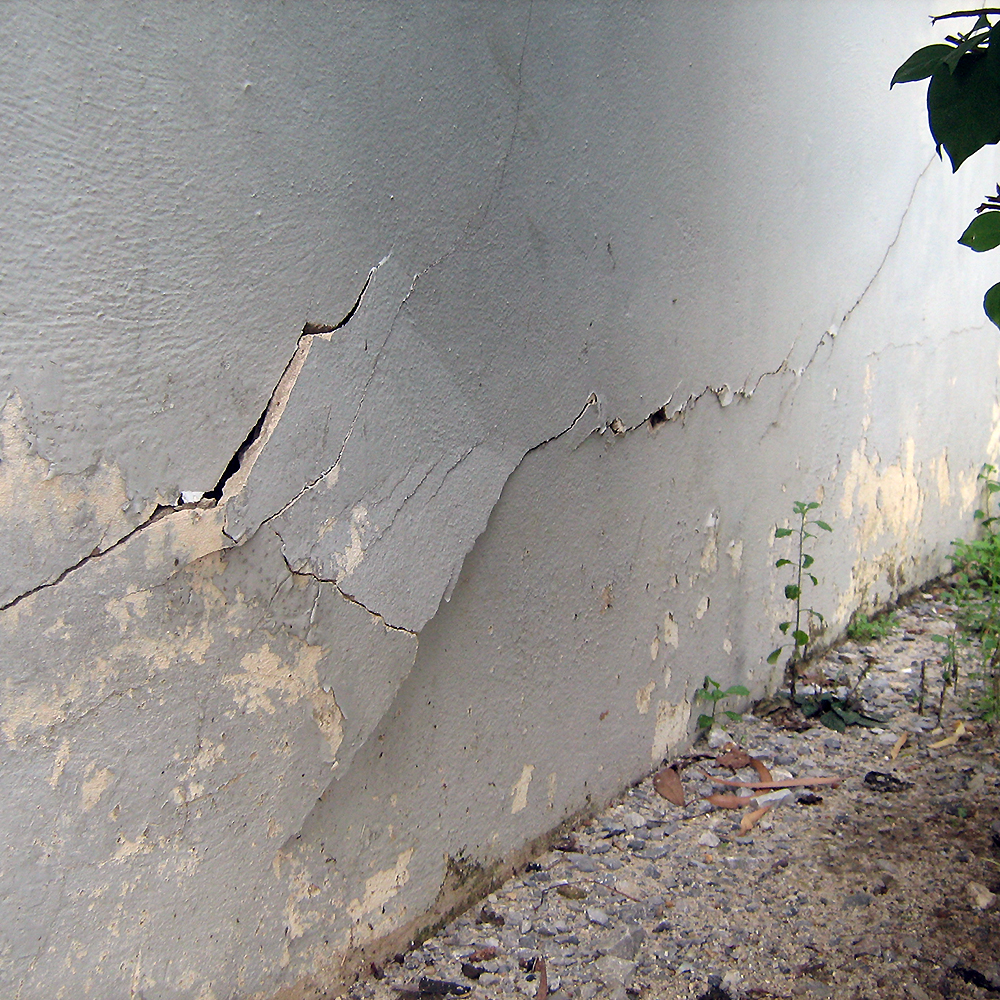 Figure 2. Shear cracks along foundation wall