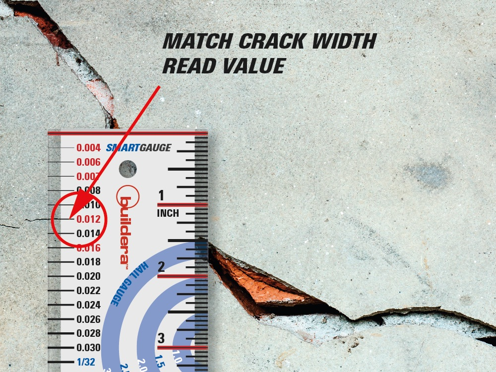 "FIGURE 4 . In this example, a very fine crack measures 0.012"" wide, which is a key value limit in ACI 224R-01."
