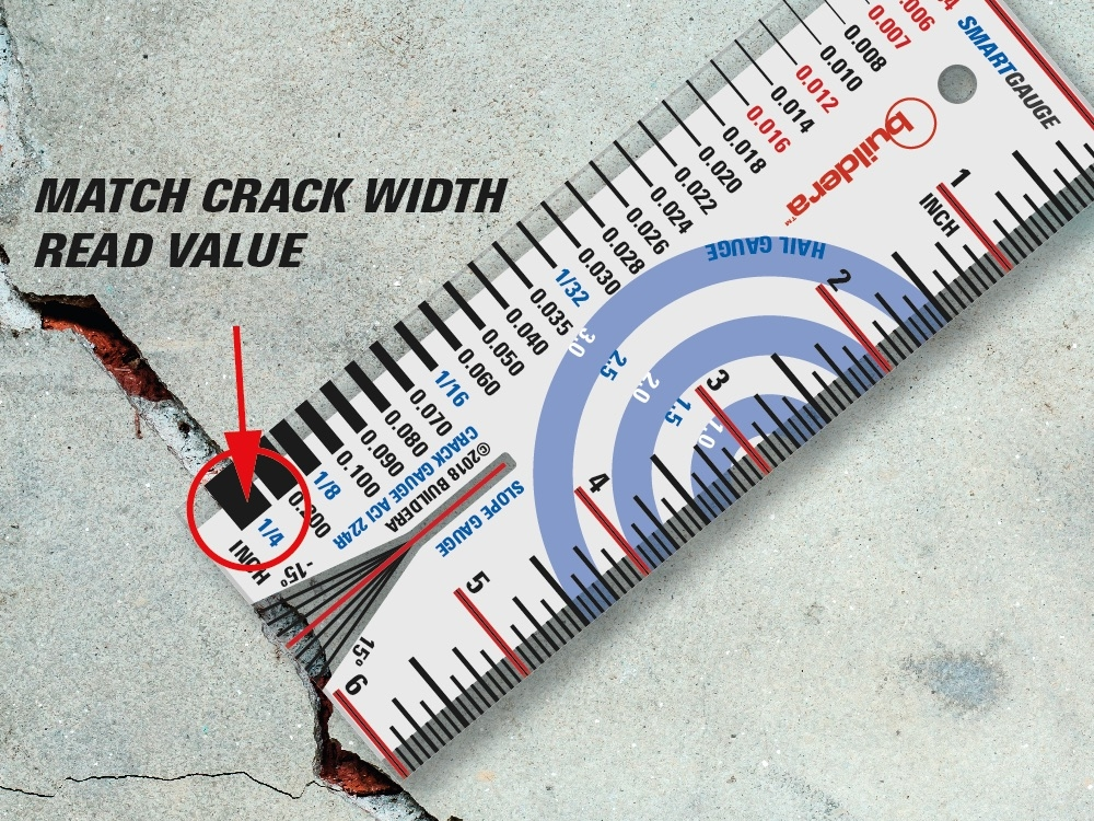 "FIGURE 3 . To measure cracks or materials up to 1/4"" wide, place the transparent edge of the crack gauge over the crack and visually align the gauge until the graduated line width matches the crack width. If the crack width falls in between two values, visually interpolate for improved accuracy. When using as a material thickness gauge, place the gauge over the edge of the material to approximate its thickness without requiring a calipers. Crack widths in red correspond to key ACI 224R-01 limits for varying conditions. Figures in blue are in fractions, and represent common material thicknesses from 1/32"" to 1/4""."
