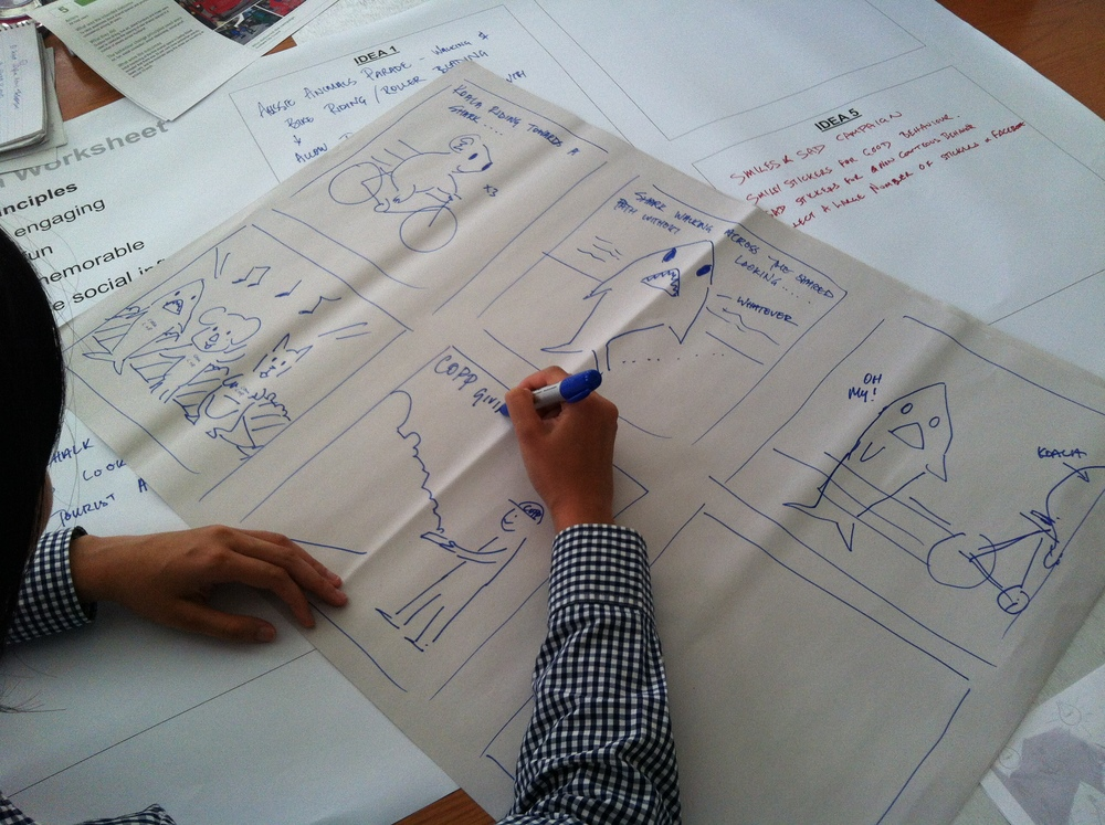 Storyboarding intervention ideas in the workshop