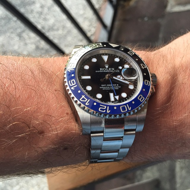 Nice clean shot of the blue/ black GMT 🔵⚫️ 👌 by rockefellersjewellers http://ift.tt/1MUFTdV