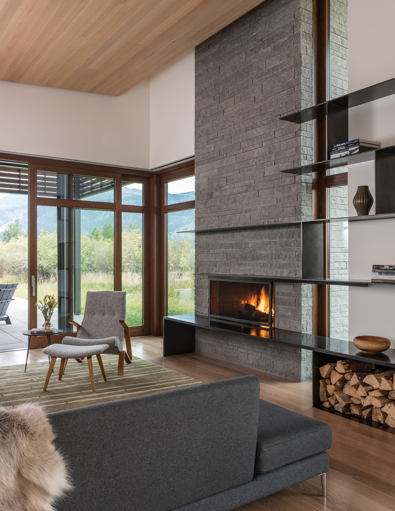 contemporist :      Fireplace With Stone Surround And Shelves