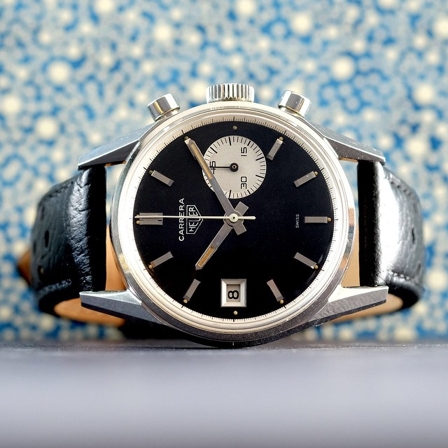 Hunted a year for this one. Heuer Carrera 3147 N from the 60s. Viva asymmetry! Looking for a 2447N or NS if anyone has one. Please send me a private message. Thanks. #womw by jason.fried  http://ift.tt/1ODJWKU