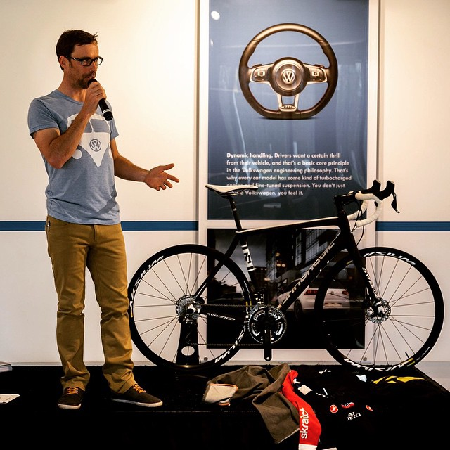 May is National Bike Month. Cannondale Brand Ambassador Tim Johnson speaks to @VW employees about bicycling at their Herndon, VA headquarters. With employees all over the world and a robust employee wellness program, it's great to see that bicycles are part of their culture. Questions ranged from basics like shifting and braking to riding technique, hydration and nutrition. Johnson also works with @PeopleforBikes, also supported by Volkswagen, on a variety of bicycle advocacy projects. They are running this year's #nationalbikechallenge where employees can ride on company teams and have their mileage tallied. by ridecannondale  http://ift.tt/1GjYVra