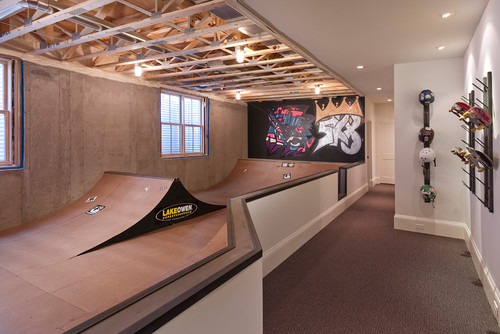 georgianadesign: Minneapolis 'modern tudor' skate basement. w.b. builders, Edina, MN.