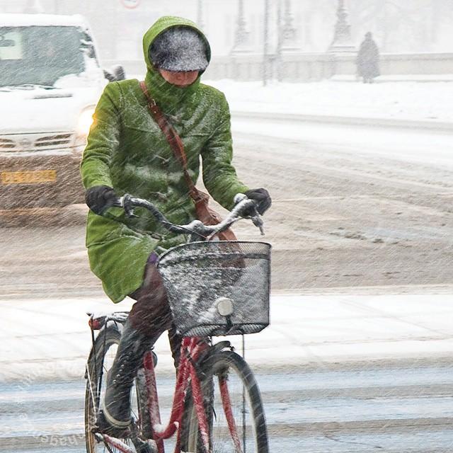 copenhagenvikingbiking :     A splash of colour through the snow #VikingBiking #Copenhagen