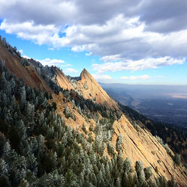 The Regency and the Third Flatiron catching some fleeting rays this morning. #exploremore #flatirons #boulder by antonkrupicka  http://ift.tt/1wg3kcI
