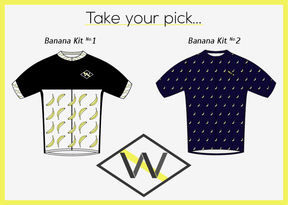 suffereaters :      velo-vogue :     Velo Vogue believes in different. We also believe in the might of the banana, an incredible source of vitamin B6, vitamin C, manganese and potassium.   Wear your appreciation for cycling's super food with our newly designed banana apparel.   Tell us which kit you would like to see produced and made available for purchase.   Help us get this wheel rolling, give it a reblog.   Keeping it different.     NO2, I take one.     No. 2 for sure.
