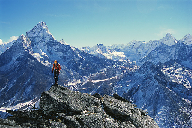 nepal :      lust4mtns :      A climber before Ama Dablam  by  Ace the Himalaya  on Flickr.     Nepal