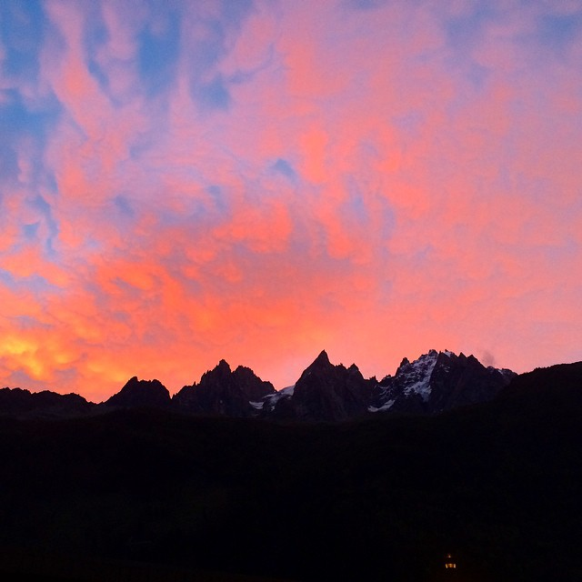 Sunrise over the Aiguilles du Chamonix this morning. Nice start to a great day of cragging with @thatdakotajones and @livsansoz. by antonkrupicka  http://ift.tt/XxXlQy