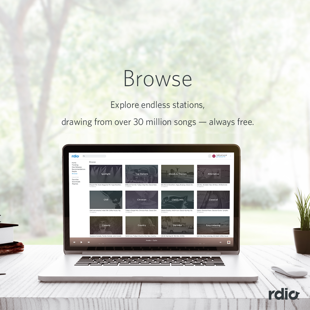 rdio :      Stations  to match any mood.  Sign up  for free and start listening.