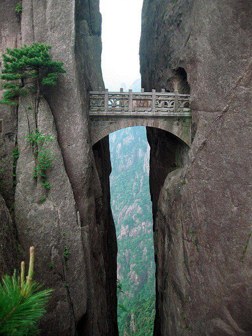 nonelikerae :        The world's highest bridge, The Bridge Of Immortals, is situated in the Yellow Mountains, also known as Huangshan. From the bridge you will have a breathtaking view, and see how the  clouds  are touching mountainsides beneath you.      I want to go here